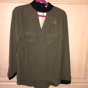 New w/Tag Olive Blouse with V-neck built in choker